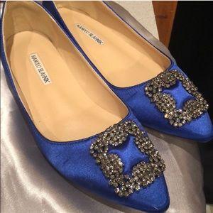 Manolo blahnik hangisi royal blue flat size 40